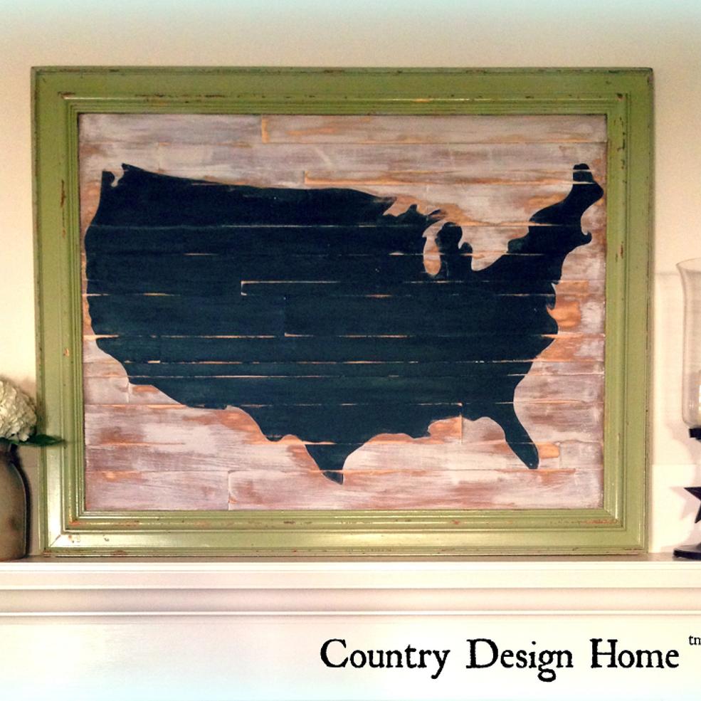 Rustic Chalkboard Usa Map Diy Globe Decor Rustic