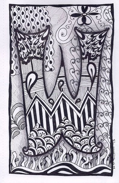 Zentangle Letter W Zebra Letters Name Bunting By ForeverTangles