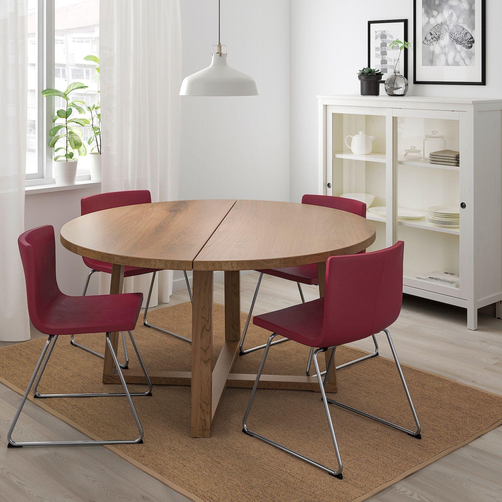 Morbylanga Table Oak Veneer Brown Stained Length 57 1 8 Ikea Small Dining Table Dining Table Ikea [ 1600 x 1600 Pixel ]