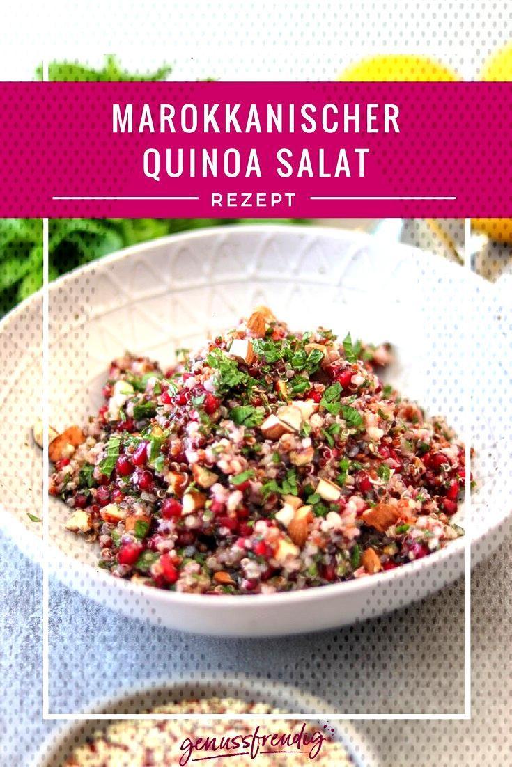 Marokkanischer Quinoa Salat - genussfreudig Marokkanischer Quinoa Salat mit Minze, Granatapfel und