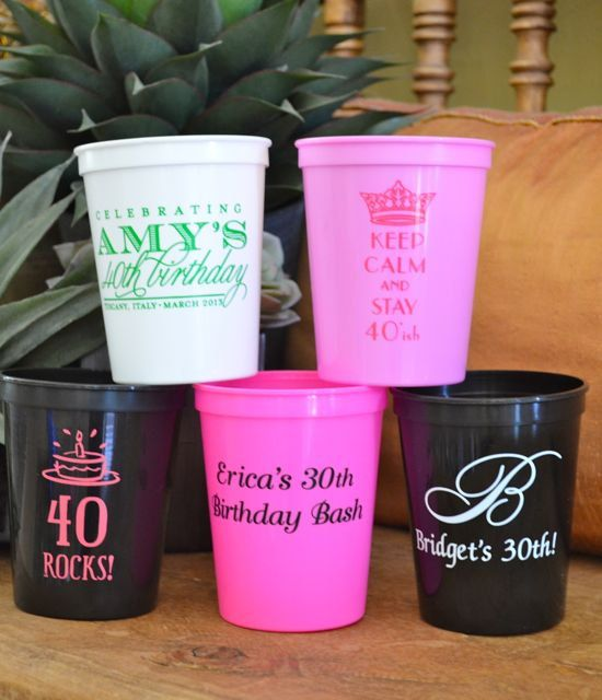 Custom Birthday Cup 40th Birthday Custom Cups Frosted Cups Custom Cups Birthday Cups Party Cups Stadium Cups Plastic Cups 12oz Cups