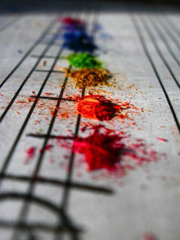 OOOH, I soooo want to try this! Pencil shavings in place of piano notes...great photo!