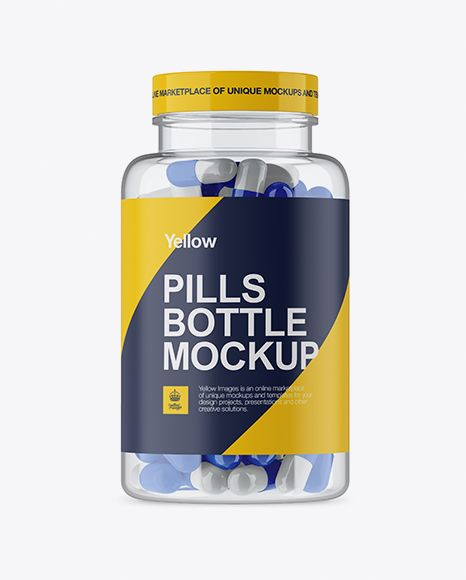 Clear Plastic Bottle With Glossy Pills Mockup In Bottle Mockups On Yellow Images Object Mockups Mockup Free Psd Bottle Mockup Clear Plastic Bottles