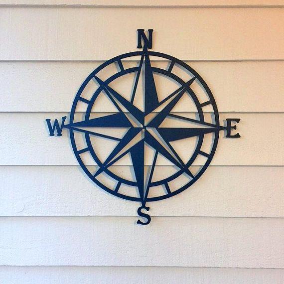 Nautical Compass Rose Metal Wall Decor 100 Color Choices Outdoor Metal Wall Art Compass Wall Decor Compass Wall Art