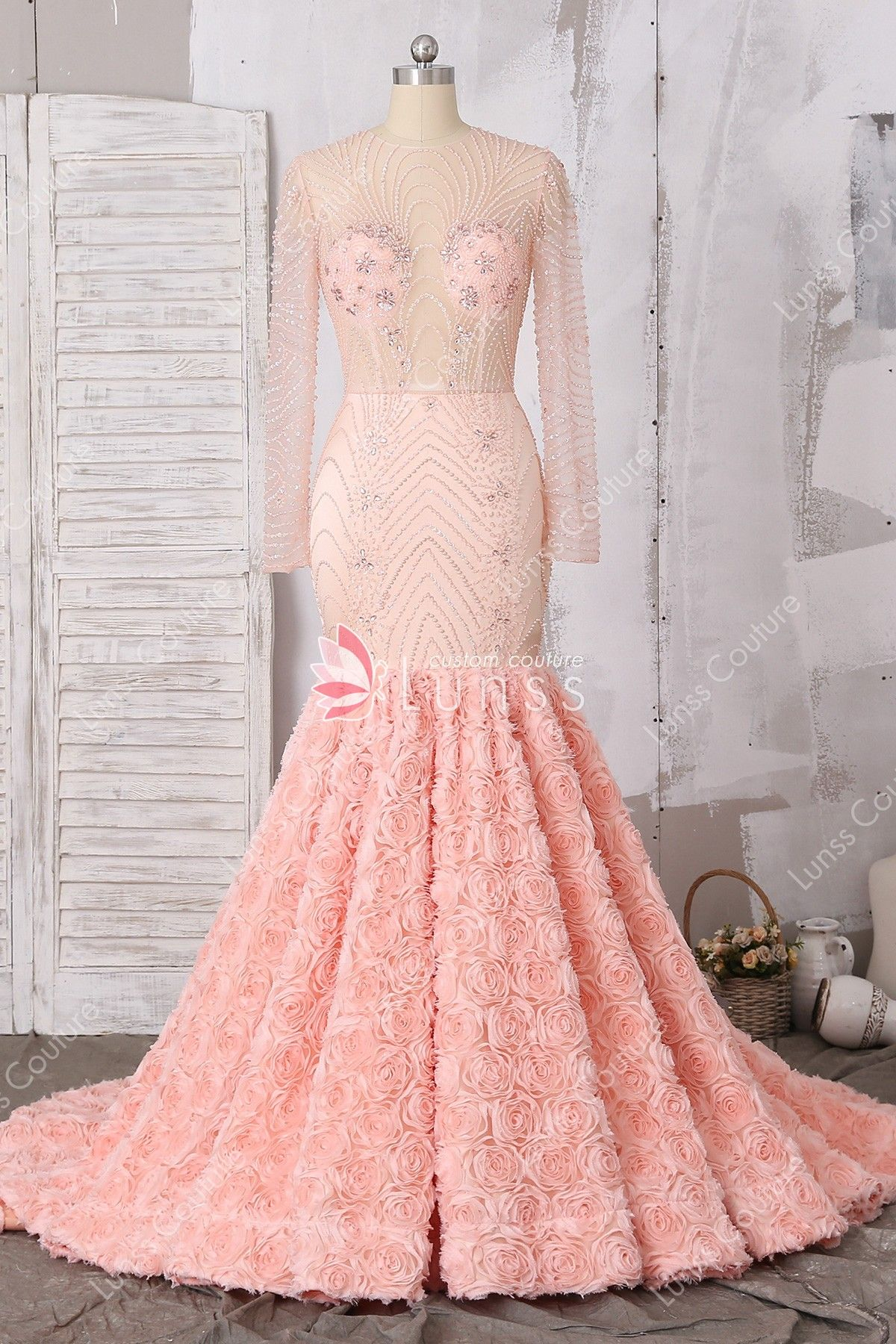 41600be14ac2 Luxury Long Sleeve Peach Pink Beaded Prom Dress with 3D Rose Court Train