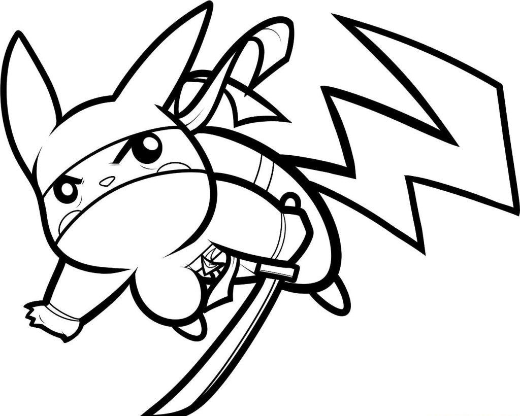 Pikachu With Ninja Costume Style Coloring Pages Pokemon Coloring