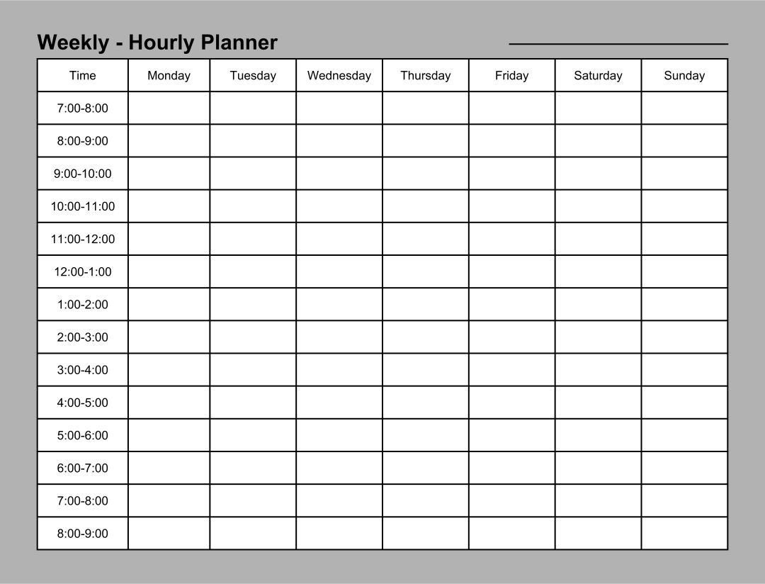 24 Hour Daily Planner Template Daily Planner Template Weekly Schedule Planner Weekly Planner Template 24 hour schedule template free