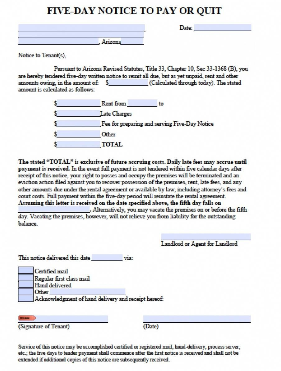 Get Our Example Of Eviction Notice Arizona Template Eviction Notice Arizona Being A Landlord