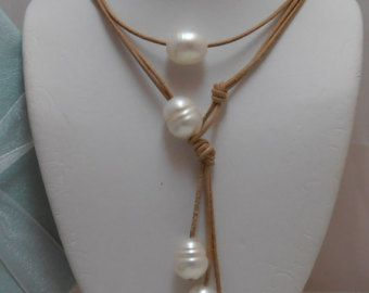 Amazing Floating Genuine Baroque White Pearls Versatile Lariat on light tan Natural Leather Necklace 2 piece set One Of A kind