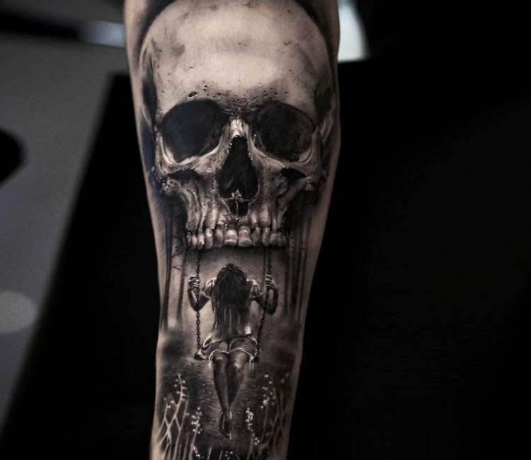 Skull With Girl On Swing Tattoo