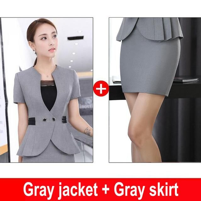 d9c33dbcec6 Commute Fashion Womens Business Office Uniforms Gray Black Skirt Suits  Styles Summer Short Sleeve Female Work Outfits Clothes