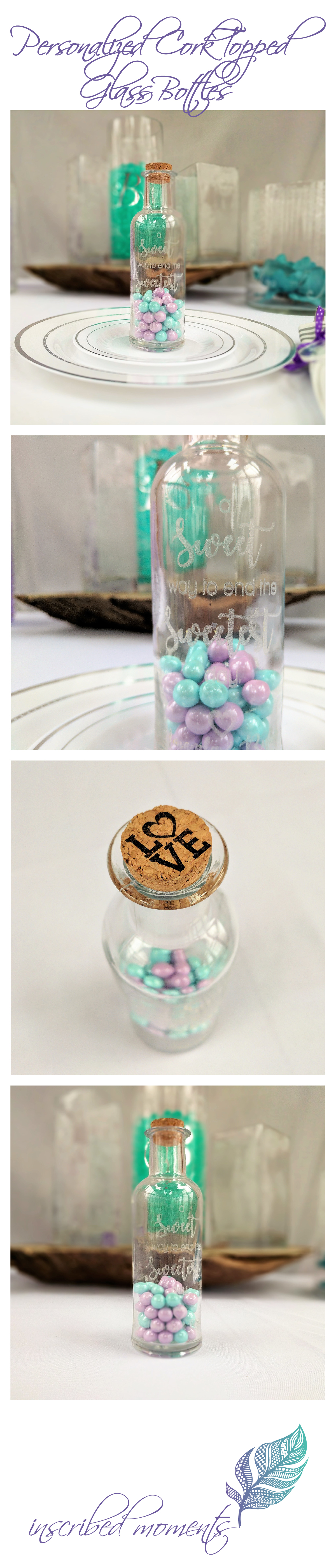 Personalized Cork Topped Glass Bottle Favors. Etched Wedding Guest ...