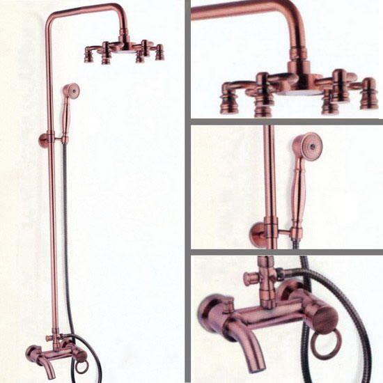 Red Copper Antique Wall Mount Bathroom Rain Shower Faucet