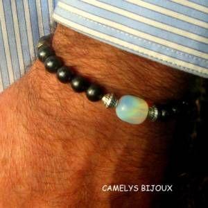 Bracelet homme en tube argent tibétain  pierre gemmes hématite ... 26d5d5185a34