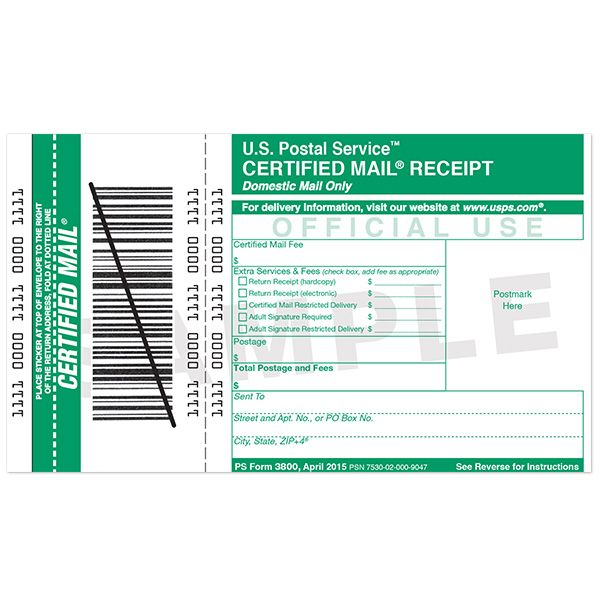 Certified Mail Receipt Lettering Personalized Stamps Purchase Order Form