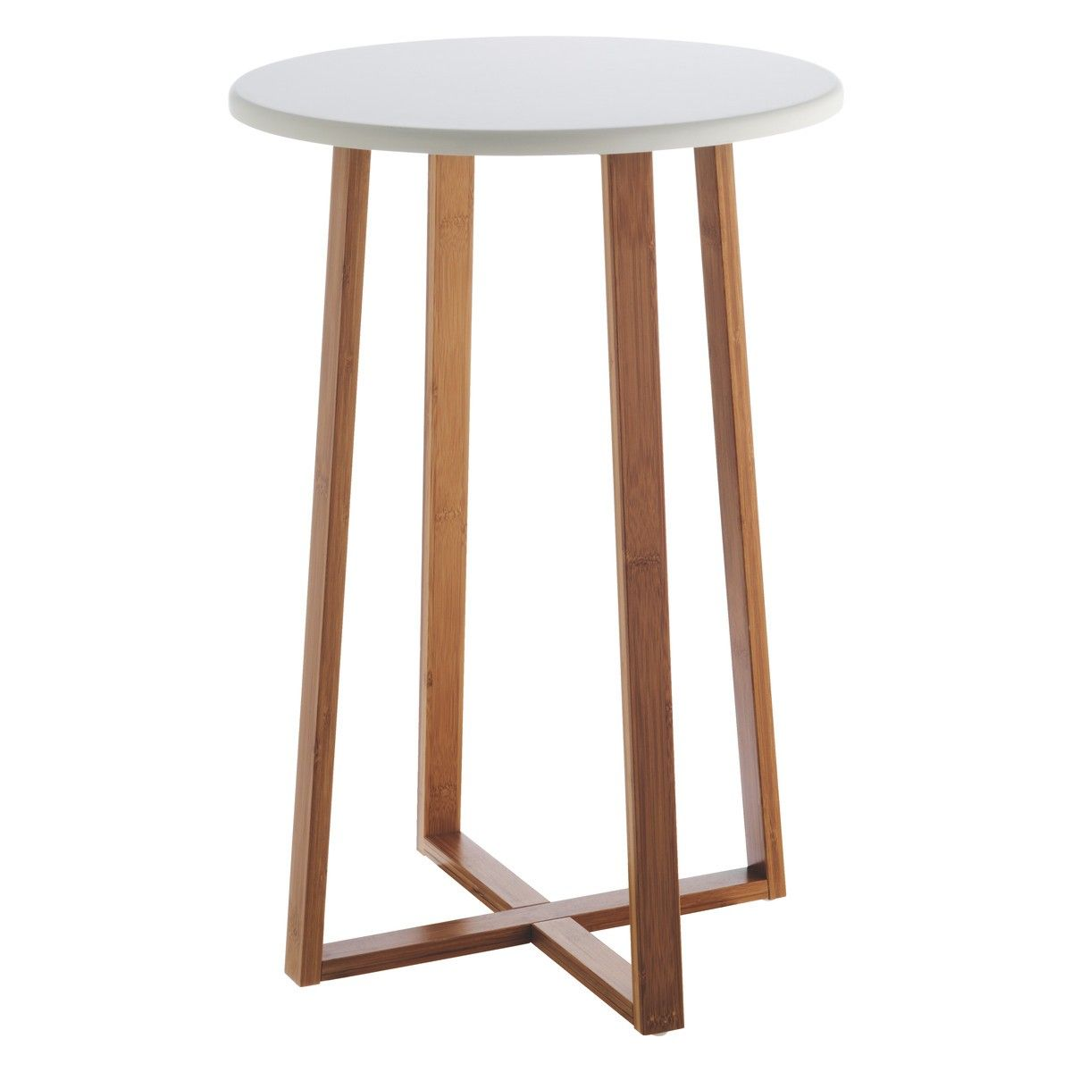Charmant DREW Bamboo And White Lacquer Tall Side Table