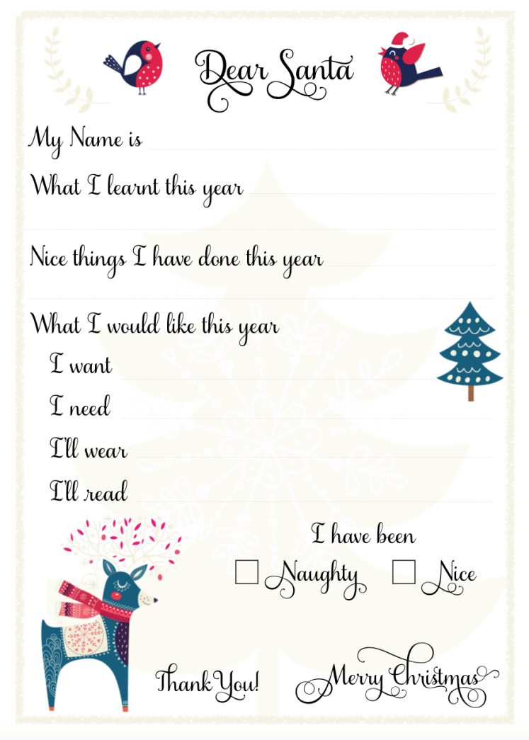 Dear Santa  Printable Download  Letter For Child To Fill Out To