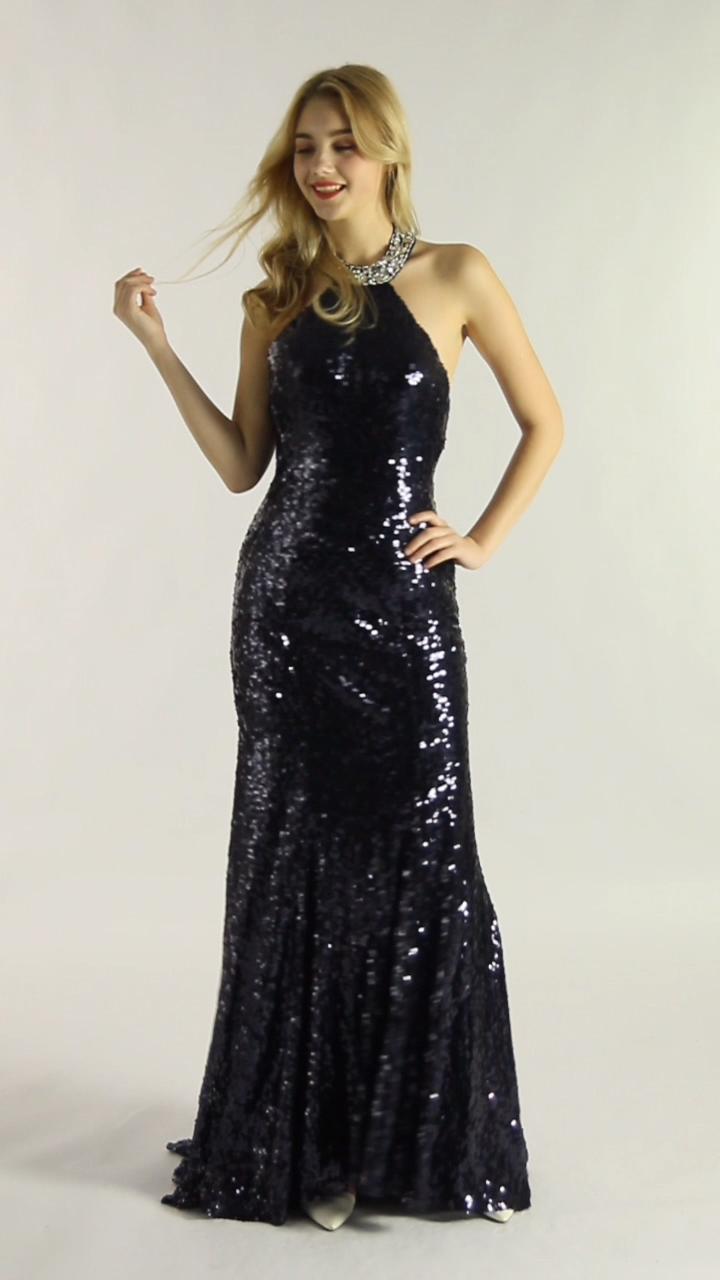 Photo of Halter Open Back Paljetter Havfrue kjole Skinnende vakker svart havfrue kjole Kvelds kjole