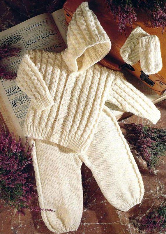 PDF Instant Download Baby Hooded Aran Jacket Trousers & | tejido ...