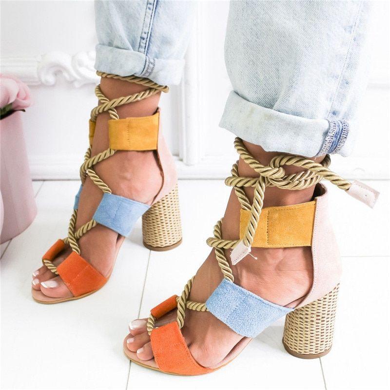 Summer Espadrilles . Women Sandals High Heel . Pointed Mouth