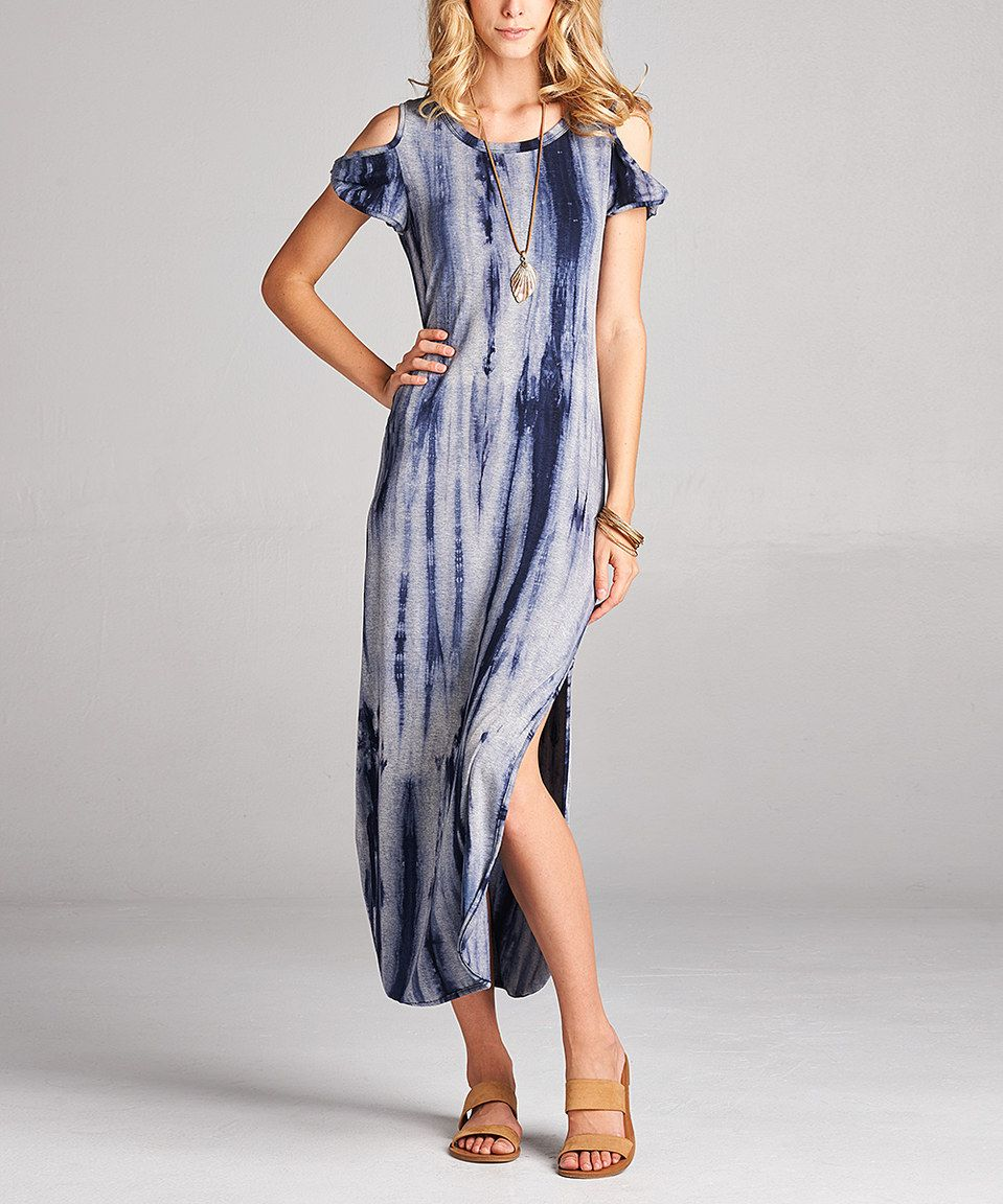 Love this love kuza blue tiedye twisted cutout maxi dress by love