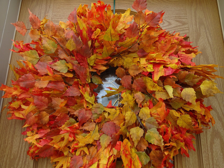 Photo of Autumn Wreath  Oak Leaf Wreath  Fall Wreath  Preserved Wreath  Thanksgiving Decorations  Front Door Wreath  Natural Wreath  Large Wreath