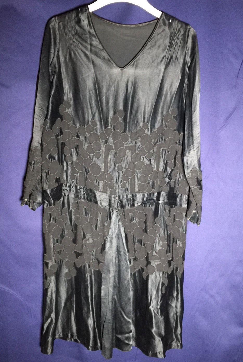 Vintage dress early us black silk satin large ebay vintage