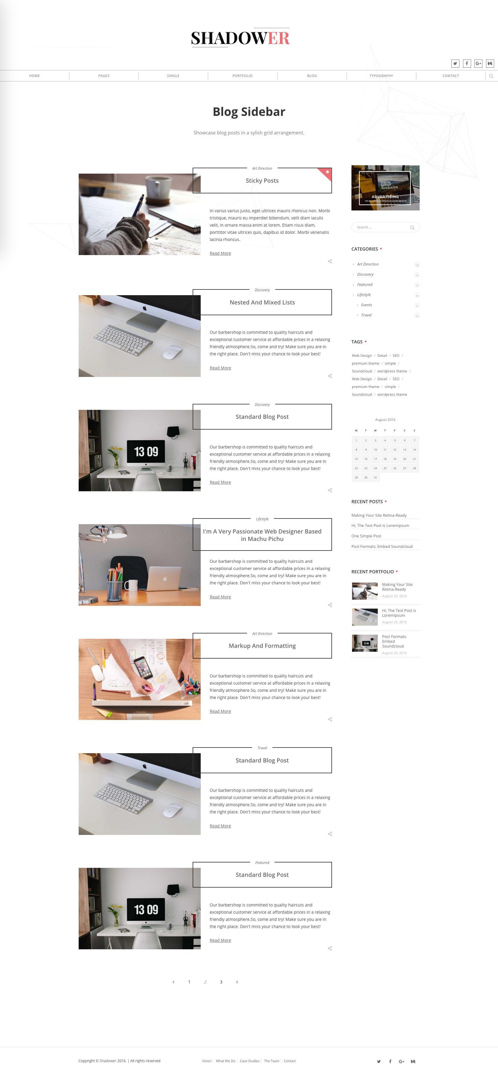 Shadower HTML5 Responsive Blog Template Pinterest