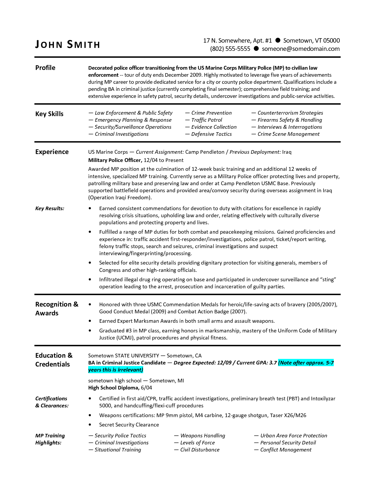 Usmc Professional Resume Military To Civilian Resumes Sample Resume For Military