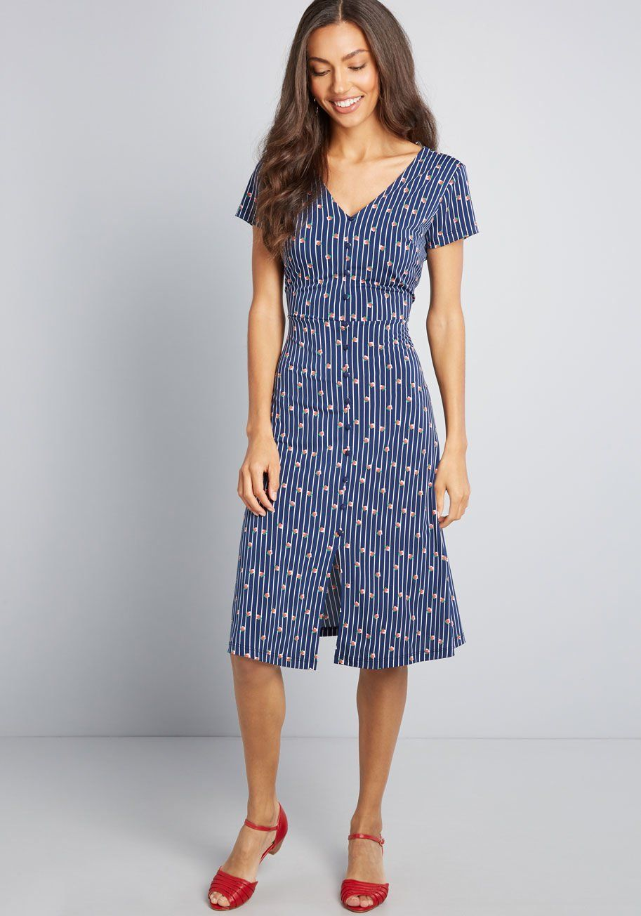 9b977369871 Established Ease Knit Dress Your effortless style is put proudly on display  with this navy blue dress - a ModCloth exclusive. With its V-neck and back  ...
