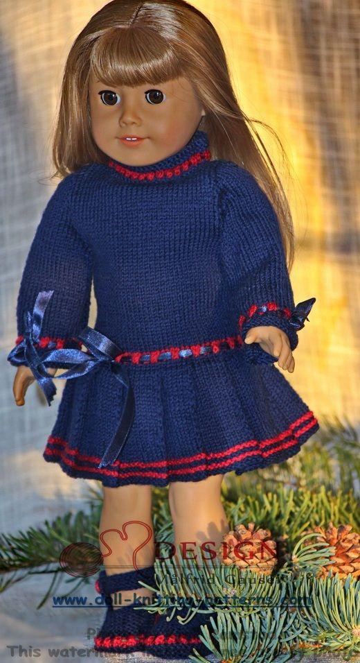 Doll dress knitting pattern | Vêtements et accessoires de poupées ...