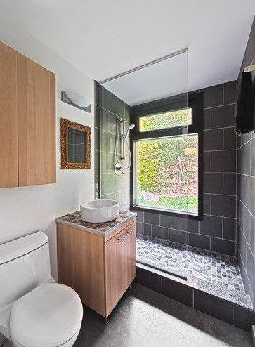 Bathroom Large Dark Tile Shower Wall Small Light Mosaic Tile Shower Floor Bathrooms Remodel Sleek Bathroom Small Remodel