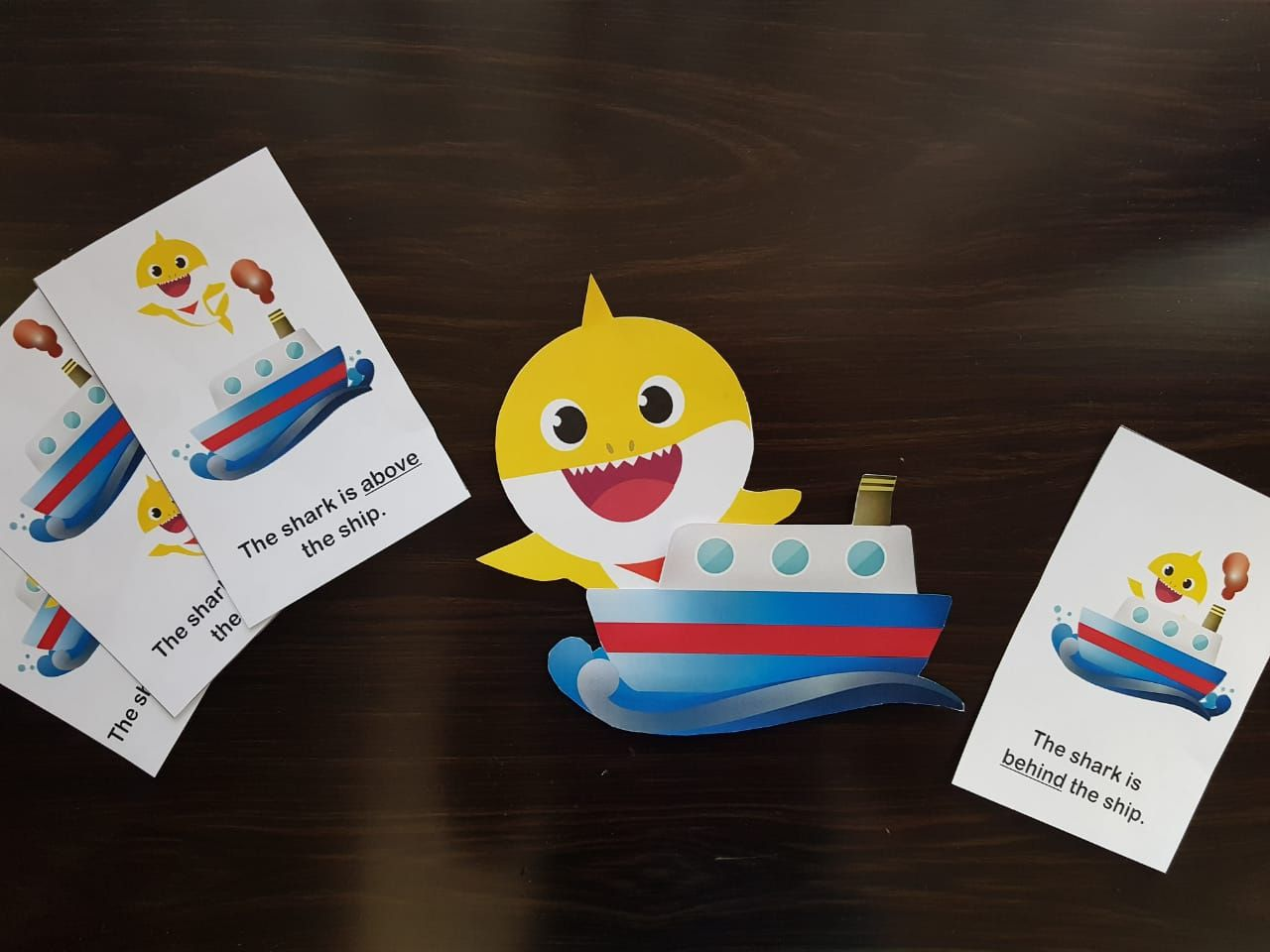 Baby Shark Themed Preposition Words Activity In