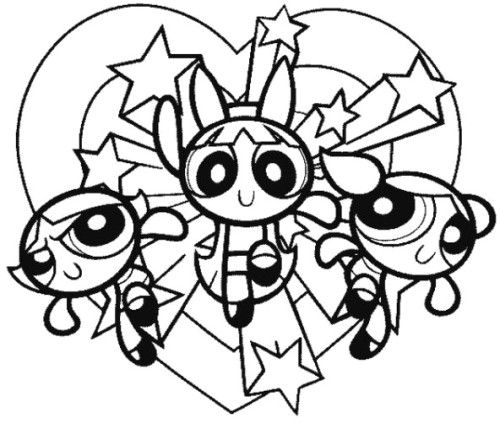The Powerpuff Girls Are Hugging Coloring Pages