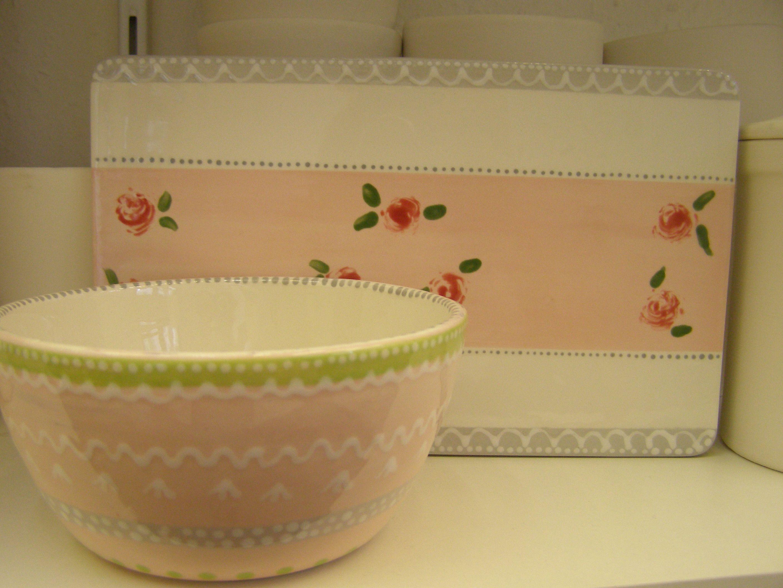 fruehstuecksbrett und muesli schale handbemalte keramik