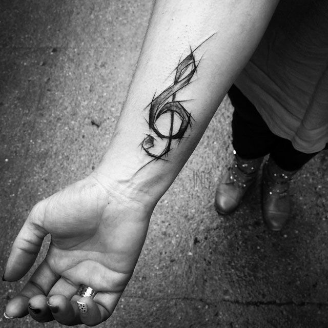 Treble Clef Tattoo on Wrist #trebleclef