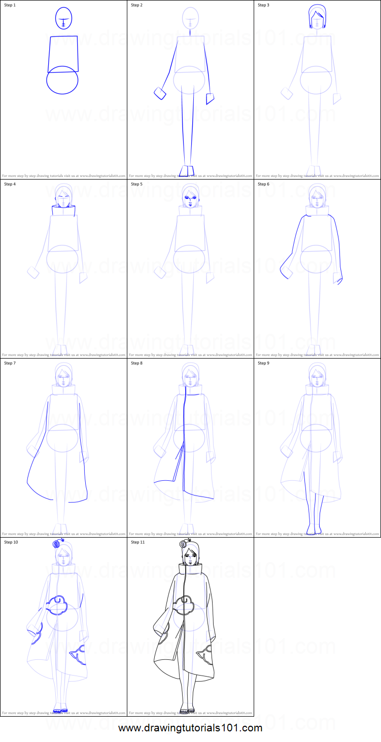 How To Draw Konan From Naruto Printable Drawing Sheet By