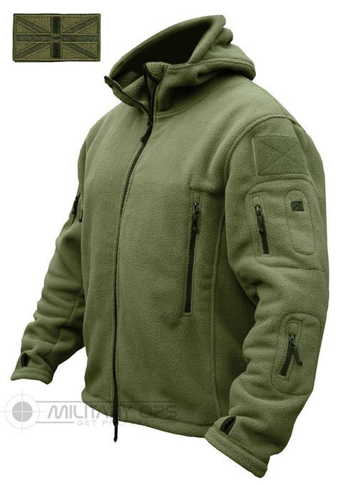 Military Style Tactical Recon Hoodie Fleece Mens Jacket Black Airsoft Army Work
