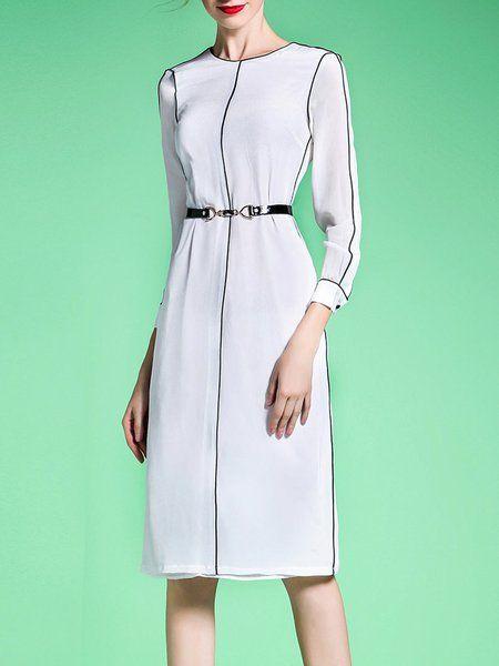 Shop Midi Dresses - White Crew Neck 3/4 Sleeve H-line Midi Dress online. Discover unique designers fashion at StyleWe.com.