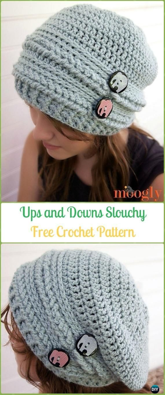 Crochet Ups And Downs Slouchy Beanie Free Patterns Crochet Slouchy