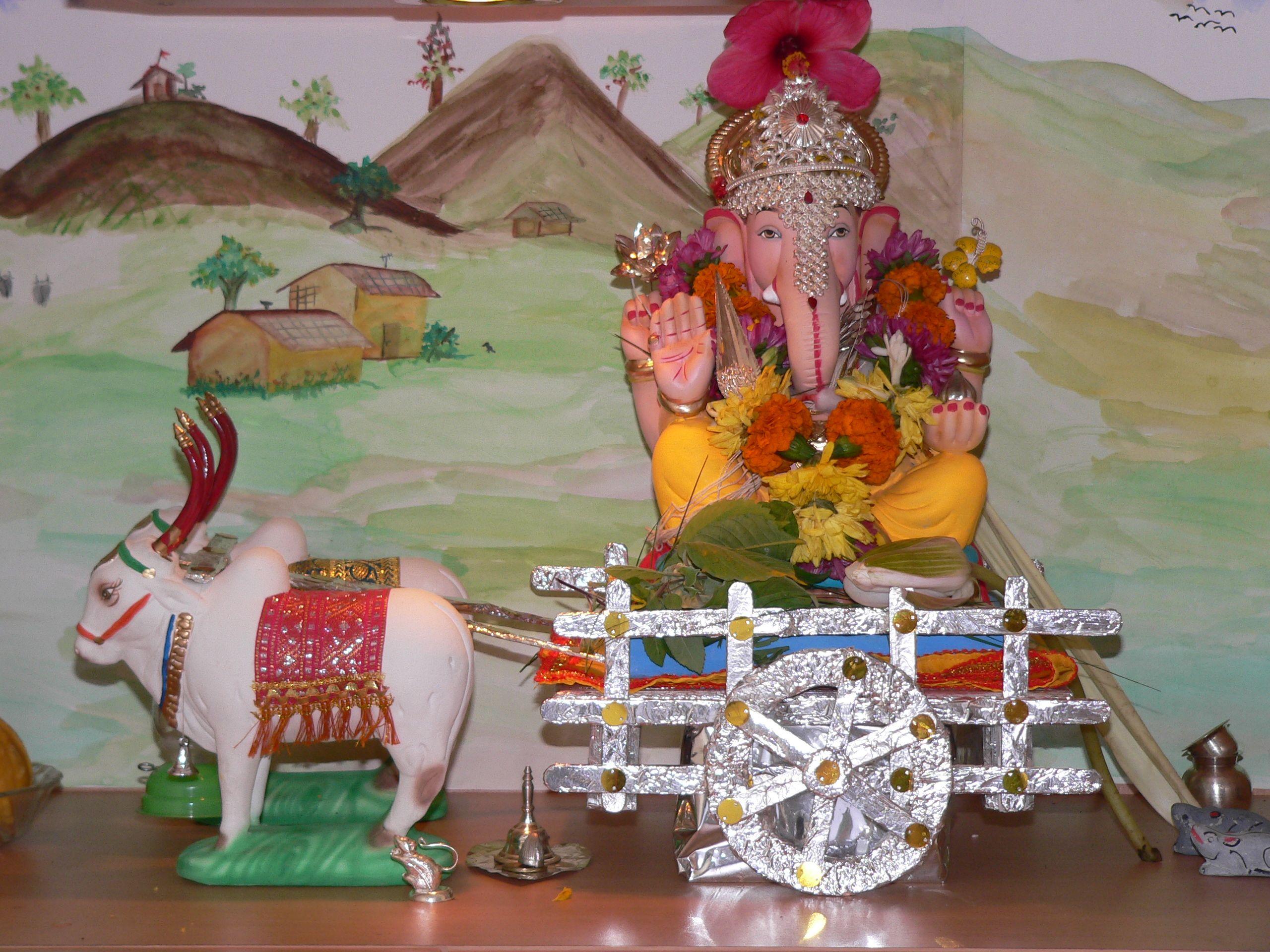 Village Theme Bullock Cart Decoration For Ganpati