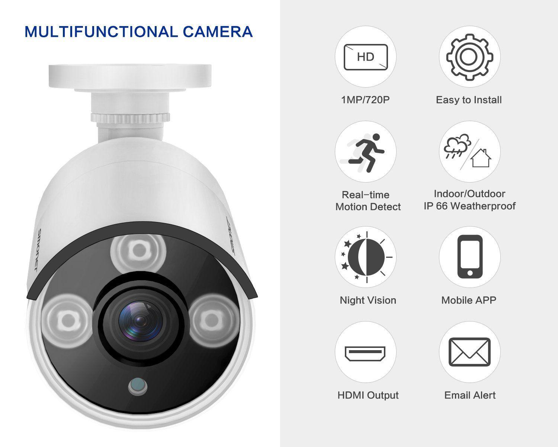 720p Wired Camera Smonet 720p Cctv Camera Waterproof Outdoor Indoor Bullet Camer In 2020 Security Cameras For Home Home Security Camera Systems Security Camera System