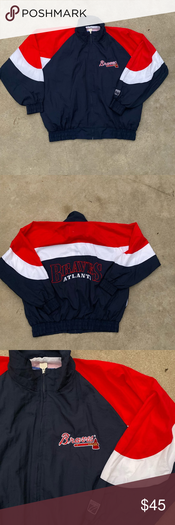 Vintage Atlanta Braves Windbreaker Jacket Retro Vintage Logo 7 In Excellent Condition Logo 7 Jackets Coats Windbreakers My Posh Closet Atlanta Braves Windbreaker Jacket Jackets
