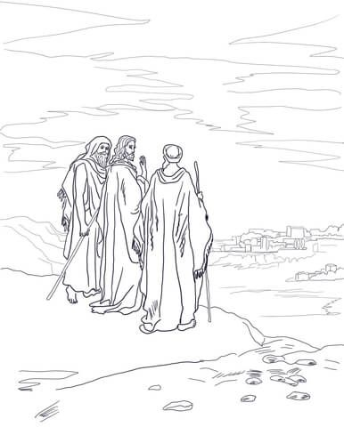 Jesus on the Road to Emmaus coloring page from Jesus Resurrection ...