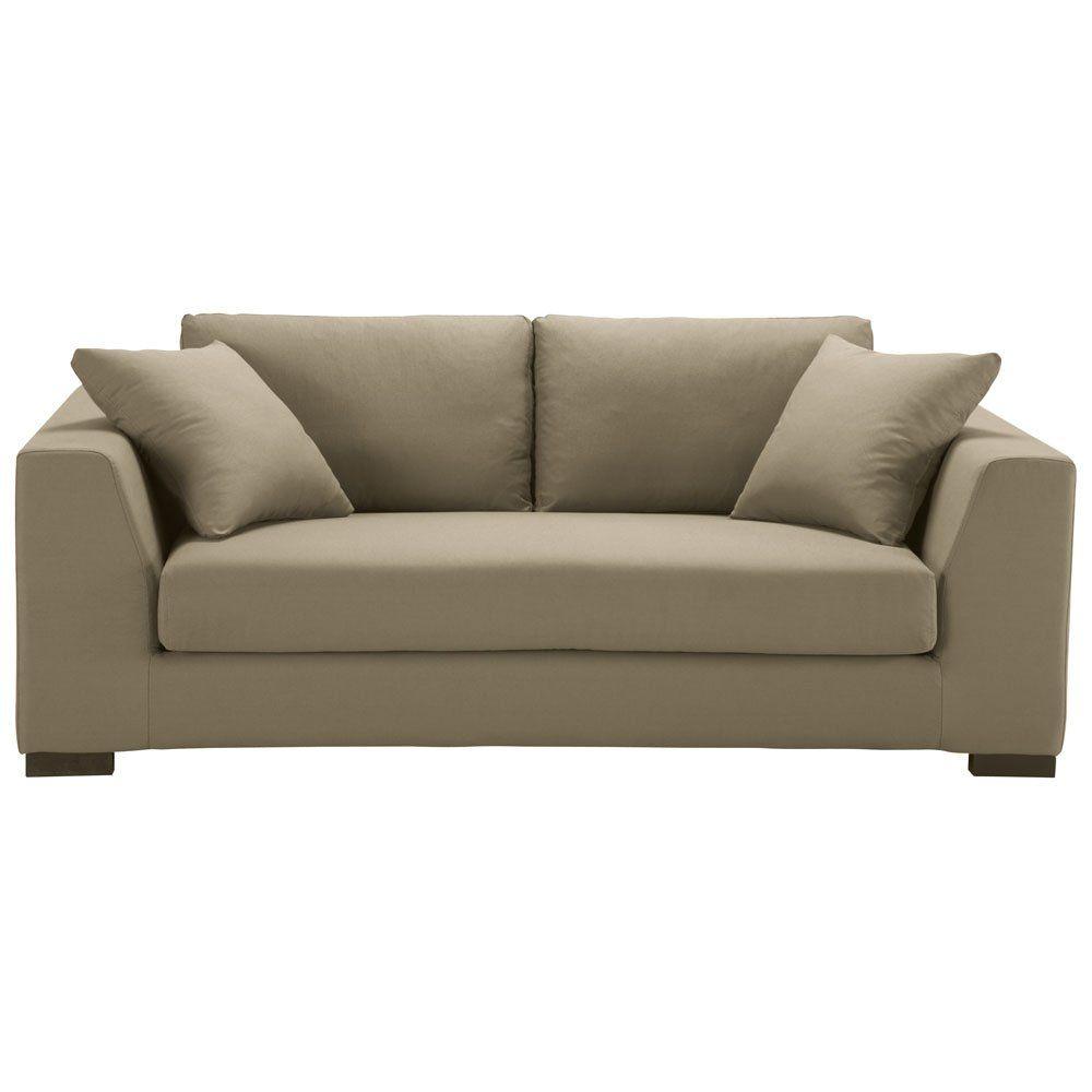 Schlafsofa 2 3 Sitzer Baumwolle Taupe Sofa Sofas 2 Sitzer Sofa