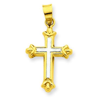 14k w/Rhodium Hollow Cross Pendant