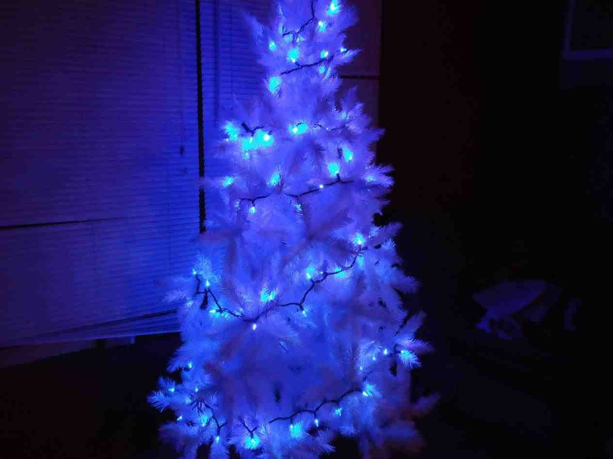 new post white christmas tree with blue lights and silver trendingchemineewebsite
