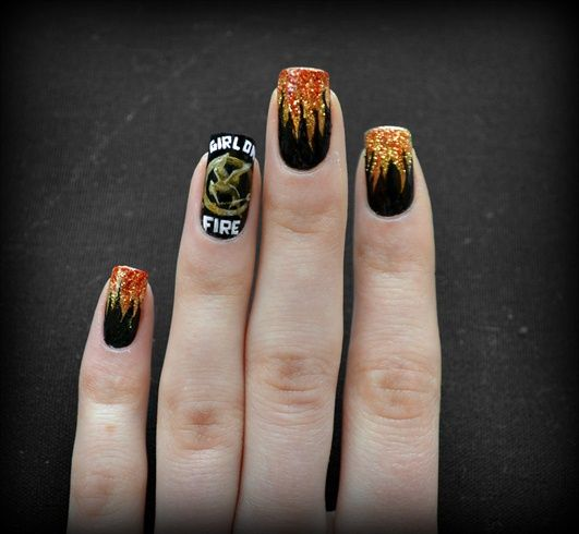 Nail Girl Games: These Are My Girl On Fire Nails. Check Out Http://starfish