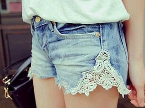 lace insert on shorts
