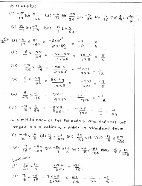 Rational Numbers RD Sharma Class 8 Solutions Exercise 1.5 Rational Numbers,  Class 8, Class